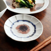 九谷青窯 高原真由美 色絵輪花花落とし 3.5寸皿
