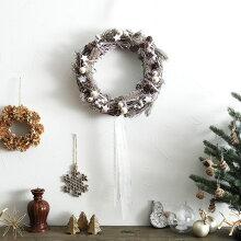 クリスマス シルバースターリース 直径30cm