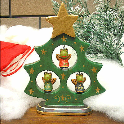 木製 X'mas クリスマス カエル 天使 X'mas ツリー グリーン [H.17cm] 蛙 フロッグ クリスマスオーナメント【アジアン雑貨 バリ 雑貨 クリスマス雑貨】【楽ギフ_包装】