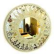 壁掛けバリモザイクミラーM丸型オフホワイト・金ラメ太陽[D.40cm]【アジアン雑貨 バリ雑貨 タイ雑貨】10P26Mar16