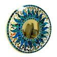壁掛けバリモザイクミラー鏡S[D.30cm]丸型濃青(海の色)+ドット太陽【丸い鏡】【アジアン雑貨 バリ 雑貨 タイ雑貨】10P01Oct16