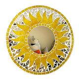 壁掛けバリモザイクミラー鏡S[D.30cm]丸型黄色系ゴールドラメ太陽【丸い鏡】【アジアン雑貨 バリ 雑貨 タイ雑貨】10P03Dec16