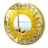 壁掛けバリモザイクミラー鏡M[D.40cm]丸型黄色系ゴールド金ラメ太陽【丸い鏡】【アジアン雑貨 バリ 雑貨 タイ雑貨】10P03Dec16
