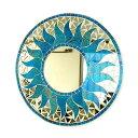壁掛けバリモザイクミラー鏡S[D.30cm]丸型スカイブルー金ラメドット太陽【丸い鏡】【アジアン雑貨 バリ 雑貨 タイ雑貨】10P03Dec16