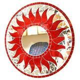 壁掛けバリモザイクミラー鏡S[D.30cm]丸型レッドラメ太陽【丸い鏡】【アジアン雑貨 バリ 雑貨 タイ雑貨】10P03Dec16