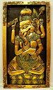 富と繁栄、学問と知恵をもたらす「夢をかなえるゾウ」の神様【あす楽_土曜営業】【あす楽_日曜営業】【送料無料】【壁掛け】木彫り 『金のガネーシャ』 浮き彫り[縦約65cmx横36cm]【あす楽対応_関東】【バリ雑貨】【アジアン雑貨】【smtb-k】【YDKG-k】【P0509】