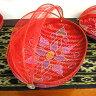 竹の蚊帳かご手描き・楕円赤Lサイズ[43cmx29cm]【アジアン雑貨 バリ雑貨 タイ雑貨】10P26Mar16