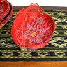 竹の蚊帳かご手描き・楕円赤Sサイズ[32cmx21cm]【アジアン雑貨 バリ雑貨 タイ雑貨】10P18Jun16