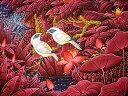 バリアート絵画L横『水辺の小鳥達ピンク白』 アジアン 雑貨 バリ 雑貨 タイ 雑貨 アジアン インテリア 送料無料