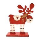 クリスマスオーナメント トナカイ赤 ハート 木のおもちゃ 据え置きタイプ クリスマス飾り xmas christmas 【アジアン雑貨 クリスマス雑貨】