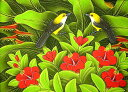 バリアート絵画M横『森の小鳥達グレー赤花』 アジアン 雑貨 バリ 雑貨 タイ 雑貨 アジアン インテリア 送料無料