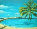 バリアート絵画L横M.Santo 『椰子の木とSeaside』[額横約63cmx縦53cm]【アジアン雑貨 バリ 雑貨 タイ雑貨】10P03Dec16