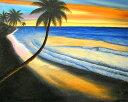 バリアート絵画L横M.Santo 『椰子の木とサンセットビーチ』 [額横約63cmx縦53.5cm] アジアン 雑貨 バリ 雑貨 タイ 雑貨 アジアン インテリア