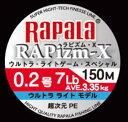 【メール便送料無料】ラパラ ラピズム-X ウルトラライトモデル 0.2号(7.0lb)-150m