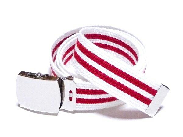 /ホワイト×レッドダブルライン32 ミリアクリル製 GIベルト ガチャベルト ローラーバックルベルト【日本製】【フルサイズ対応】【3本までメール便対応可】