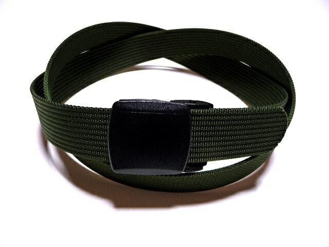 /モスグリーン 国防色32ミリナイロン プラスティックバックルベルト 樹脂バックルベルト / 日本製 / フルサイズ対応 / 1本までメール便対応可 / あす楽対応