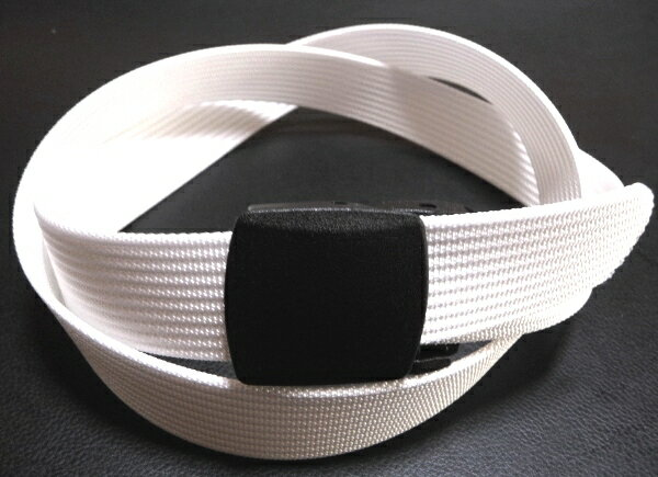 /ホワイト32ミリナイロン プラスティックバックルベルト 樹脂バックルベルト / 日本製 / フルサイズ対応 / 1本までメール便対応可 / あす楽対応