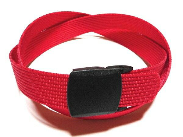 /レッド(赤)32ミリナイロン プラスティックバックルベルト 樹脂バックルベルト / 日本製 / フルサイズ対応 / 1本までメール便対応可 / あす楽対応
