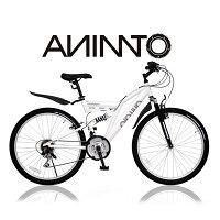 【ANIMATOアニマート】 MTB SANDPIPER(サンドパイパー) 26インチ マウンテンバイク Wサスペンション 街乗り 通勤 SHIMANO 18段変速 【軽量アルミフレーム】の画像