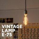 カーボン電球 ヴィンテージランプ E26 【E75】 おしゃれ 照明 電気 ライト エジソン電球 裸電球 40ワット レトロ カフェ ダイニング バー レストラン