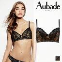 【30%OFF】フランス【Aubade】オーバドゥArt of Kissing(アートオブキッシング)トライアングルブラ JET Black(ブラック)カラー(Y610)