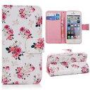 iPhone5 iPhone5s SE iPhone6 iPhone6s ケース 手帳型ケース フリップ スタンド型 PUレザー 皮 花柄 バラ ローズ