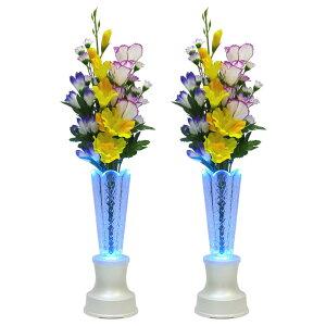 仏花 造花 クリスタル灯 花ともしび 一対 USB充電式