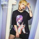 ショッピング女の子 ankoROCK アンコロック ビッグ Tシャツ メンズ カットソー レディース ワンピース ユニセックス 服 ブランド 半袖 大きいサイズ ビッグシルエット 黒 ブラック プリント 女の子 ガール カッター 手首
