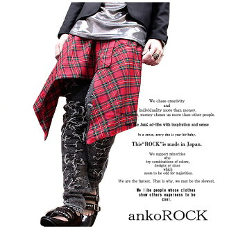 ankoROCK Tartan check アシメカッティング deformation silhouette wrap skirt / check skirt men's women's knee-length red white long flashy mode Gothic Rock fashion rock series distinctive アンコロック Hara-Juku series stage rock Goth Street