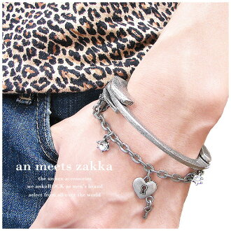 an meets zakka アンティークゴツ handcuffs with a デザインジルコニア charm bracelet / men's bangles ladies accessories silver bangles flashy rock fashion rock distinctive personality sect アンコロック Hara-Juku series stage rock flashy Sir Street