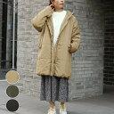 中綿 コート レディース ファッション ゆったり 40代 30代 秋 冬 アウター フード ロング カジュアル シンプル大きめ アンルル anlulu プチプラ