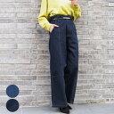 ワイドパンツ レディース デニム ファッション 体型カバー 30代 40代 ウエストゴム ジーンズ ジーパン カジュアル アンルル anlulu プチプラ