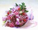 【お誕生日の花束】バラとトルコ桔梗のエレガントブーケ【楽ギフ_包装】【楽ギフ_メッセ】お中元