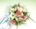 【あす楽16時まで受付】【季節のお花・花束】ピンクと白の優しいトーンのブーケ【あす楽対応】
