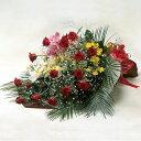 お祝いの花束 赤バラとランの豪華な花束