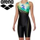 アリーナ 水泳 サークルバックスパッツ ぴったりパッド 着やストラップ フィットネス 水着 レディス FLA-9904W-YEL