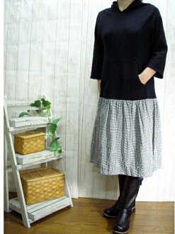 Book sales! 10 days デリバリースウェット x black, staggered and gingham パーカーワン piece made in Japan M-5 L