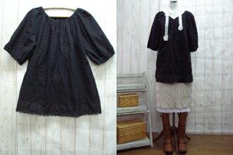 關於 10 天交貨的書出售 ! 感覺舒適、 柔軟的黑色棉蕾絲罩衫外衣 2 L-5 L