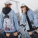 デニムジャケット レディース 韓国ファッション オーバーサイズ 大きめ 大きいサイズ Gジャン ジージャン クラッシュデニム アウター ..
