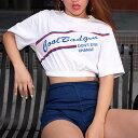 tシャツ ショート丈 トップス へそ出し カットソー 半袖 レディース ダンス 衣装 韓国 ファッション かっこいい おしゃれ かわいい ブ..