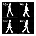 ビートルズ アビーロードシルエット ストーンコースター 4枚セット お中元 おしゃれ かわいい The Beatles Abbey Road Ceramic Coaster 吸水 ストーン ブラック ホワイト 白 黒 ザ・ビートルズ アビー・ロード ジョン・レノン ポール・マッカートニー ジョージ・ハリスン リ