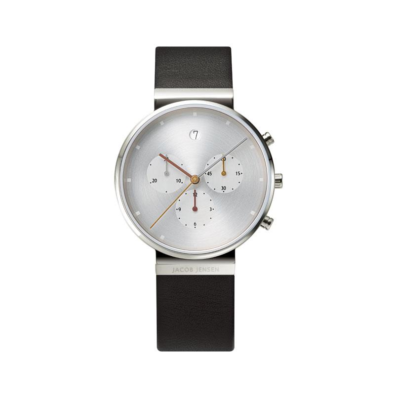 ヤコブ・イェンセン Chronograph Leather 腕時計 606 メンズ シルバー Jacob Jensen 時計 卒業 入学 就職祝 \\ 10%OFFクーポン配布中 //