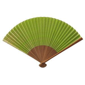 伊場仙 扇子 しけ引き 黄緑