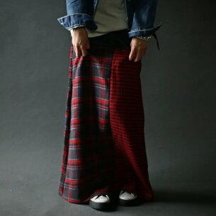 チェック スカート 切り替え リブロングスカート