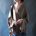 しっとり贅沢な落ち感が出るワイド。『ノーカラーでカーデ風にも羽織れるシャツ!』2月15日20時〜再販!袖スリットで大人へと・・・ 。ノーカラーワイドシャツ##e10
