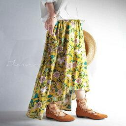 美と個性の共演。花柄アシメスカート★7月23日20時〜再販!期待高まる。『しっとり、すとん、やわらかスカート。』##o4【☆】