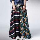 贅沢ドレープ、満足ロング。レトロドレープロングスカート・再再販。『花柄×ボーダー、どっちも負けないくらい可愛くて。』##×メール便不可!