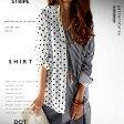 左右非対称デザインstyle shirt。『たのしさ溢れるお洒落上級者シャツ。』8月6日20時〜発売!鮮やかで爽やかな気になる存在。ストライプ×ドットアシンメトリーシャツ##j1