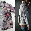 異素材、左右非対称/new style shirt。『淡い透け花柄とパリッとボーダー。』10月13日10時&20時〜2回再再再販!鮮やかに私のお洒落呼び覚ます。花柄×ボーダーアシンメトリーシャツu2