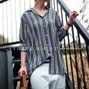 テクいらずで即お洒落さん。『シボ感、とろみ、雰囲気シャツ。』4月9日20時〜再販!ちょっとレトロがコーデに響く。レトロストライプ柄シャツh10